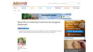 More Info on Collecting Funds from the Syngenta Settlement   Agweb ...