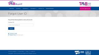 Forgot User ID | TMB Rewardz