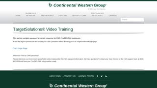 TargetSolutions® Video Training - Continental Western Group Insurance