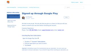 Signed up through Google Play – Taxbot Knowledge Base