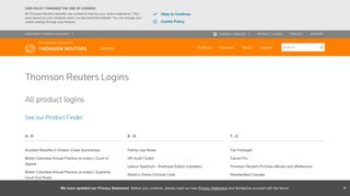 Log in to online services | Thomson Reuters