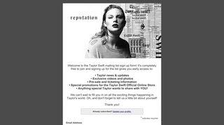 TaylorSwift.com Mailing List Sign Up