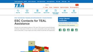ESC Contacts for TEAL Assistance - Texas Education Agency