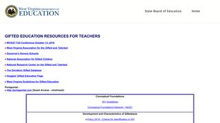 Gifted Education Resources for Teachers - West Virginia Department ...