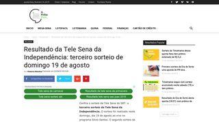 Resultado da Tele Sena da Independência: terceiro sorteio de ...