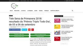 Tele Sena de Primavera 2018: resultado do 'Prêmio Triplo Todo Dia ...