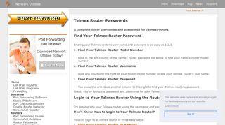 Telmex Router Passwords - Port Forward