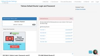 Telmex Default Router Login and Password - Clean CSS