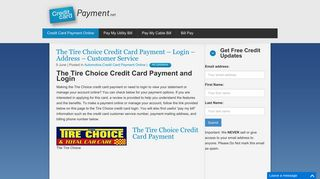 The Tire Choice Credit Card Payment - Login - Address - Customer ...