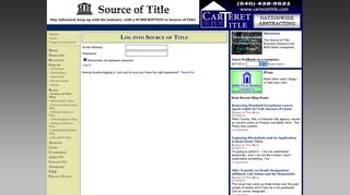 Source of Title Login Page