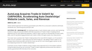 AutoLoop Acquires Trade-In Valet® by CARPHORIA, Accelerating ...