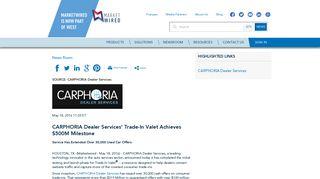 CARPHORIA Dealer Services' Trade-In Valet Achieves $500M Milestone