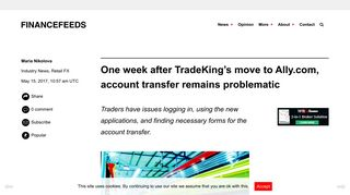 One week after TradeKing's move to Ally.com, account transfer ...