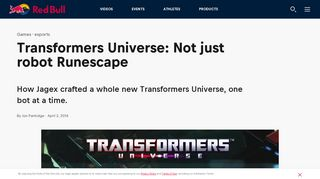 Games Transformers Universe: Not just robot Runescape ... - Red Bull