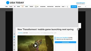 New 'Transformers' mobile game launching next spring - USA Today