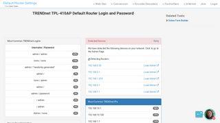 TRENDnet TPL-410AP Default Router Login and Password - Clean CSS