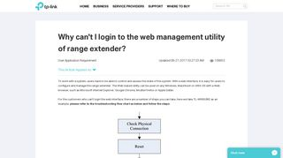 Why can't I login to the web management utility of range extender ...