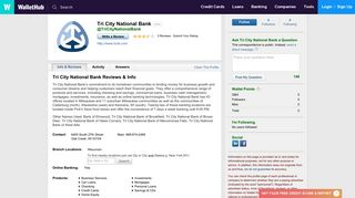 Tri City National Bank Reviews - WalletHub