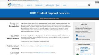 TRIO Student Support Services | Benefits.gov