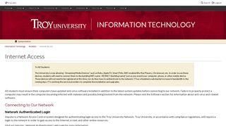 TROY - Information Technology - Students - Internet Access