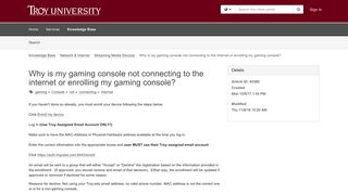 Article - Why is my gaming console no... - Troy University Helpdesk