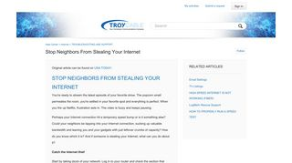 Stop neighbors from stealing your Internet - Help Center - Troy Cable