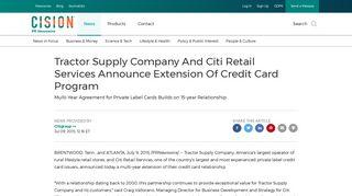 Tractor Supply Company And Citi Retail Services ... - PR Newswire