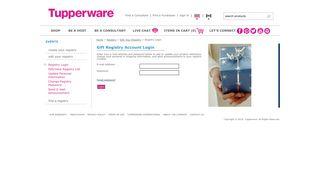Tupperware | Gift Registry Account Login