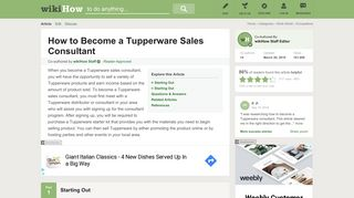 How to Become a Tupperware Sales Consultant: 9 Steps