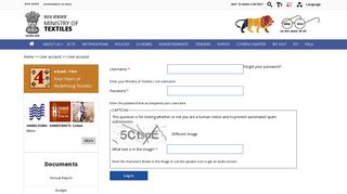 User account   Ministry of Textiles   GoI