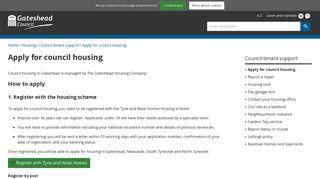 Apply for council housing - Gateshead Council