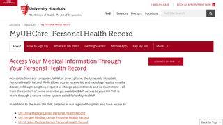 My Personal Health Record   MyUHCare   University Hospitals ...