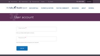 User account | Valley Health System