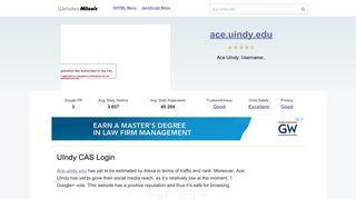 Ace.uindy.edu website. UIndy CAS Login.