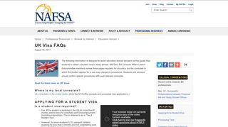 UK Visa FAQs | NAFSA