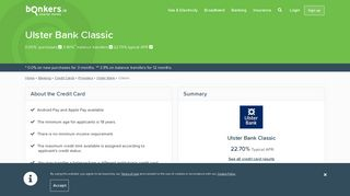 Ulster Bank - Classic Credit Card | bonkers.ie