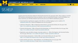 SIS Help | University of Michigan-Flint