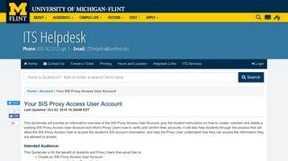 UM-Flint | Your SIS Proxy Access User Account