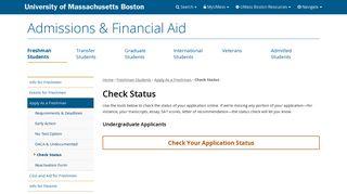 Check Status - Admissions & Financial Aid - UMass Boston
