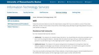 Wifi   Information Technology Services - University of ... - UMass Boston
