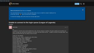 Unable to connect to the login queue (League of Legends) - Support ...
