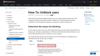How to unblock users with Azure Active Directory Identity Protection ...