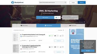 BWL 3b Marketing at Universität Kassel - Studydrive