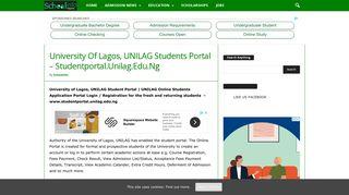 University Of Lagos, UNILAG Students Portal – Studentportal.Unilag ...