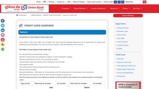 Apply for Credit card | Union Bank of India