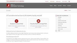 Email – Office of Information Technology   The University of Alabama