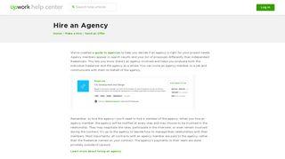 Hire an Agency – Upwork Help Center