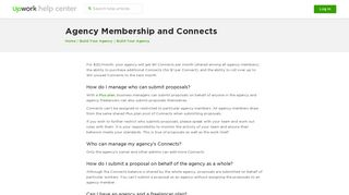 Agency Membership and Connects – Upwork Help Center