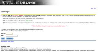 User Login - UR Self-Service