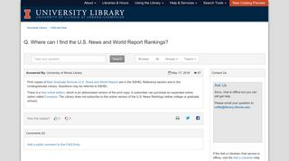Q. Where can I find the U.S. News and World Report Rankings? - FAQ ...